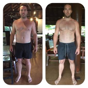 Cameron's Before and after photo at the fitness bootcamp