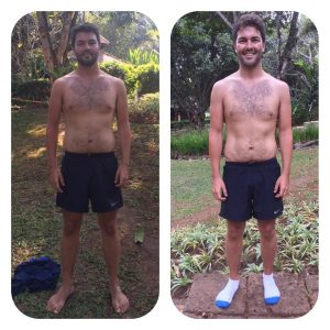 Tristan's Before and After photo at the fitness bootcamp