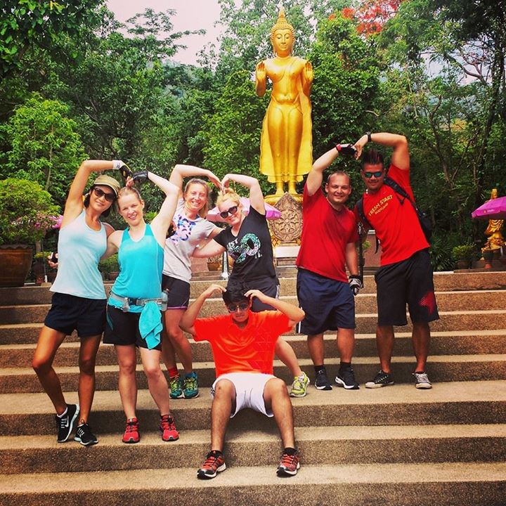 Last week's bootcampers enjoying their walk and exercises around Huay Tung Tao Lake