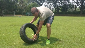 Todd flipping tyres at our April 2014 boot camp