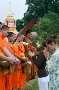 Pray hand gesture monks