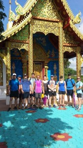 fresh start thailand fitness bootcamp guests infront of a Thai temple September 2014