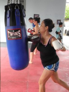 Helen at Muay Thai part of her HITT interval training at thailand fitness camp