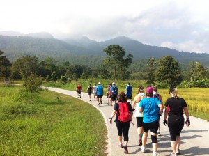 photo of guests walking at the Fresh Start fitness camp New year guests with their health and fitness goals well on track