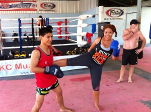 Ira kicking Thailand fitness bootcamp